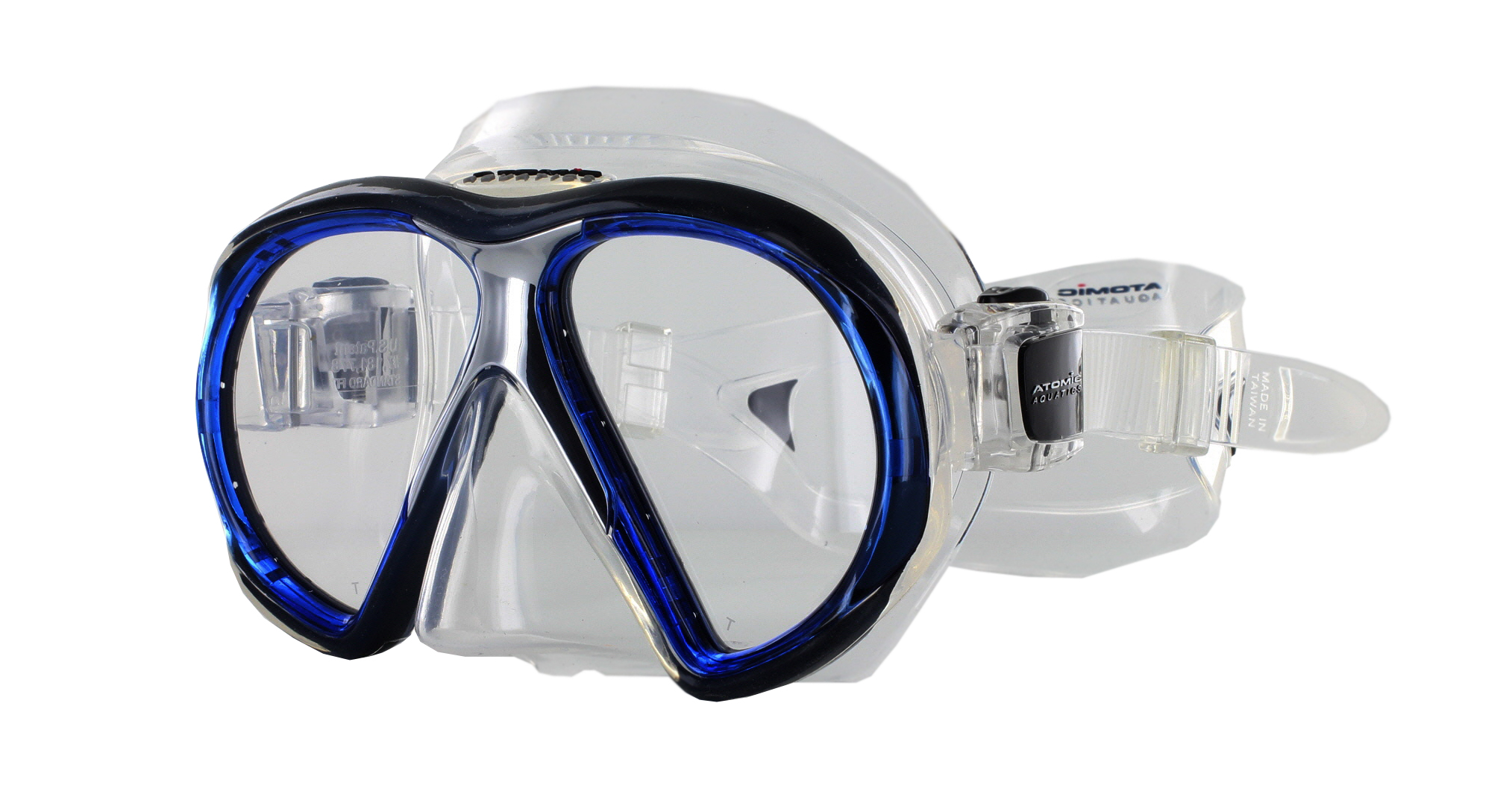 Atomic Aquatics SubFrame Clear Silicon - Blue Schräg Ansicht