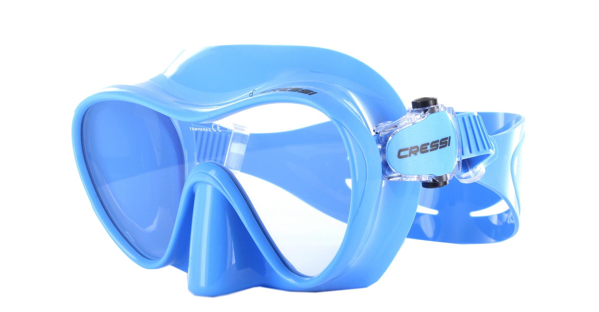 Cressi F1 Small Blue Silicon - Blue Schräge Ansicht