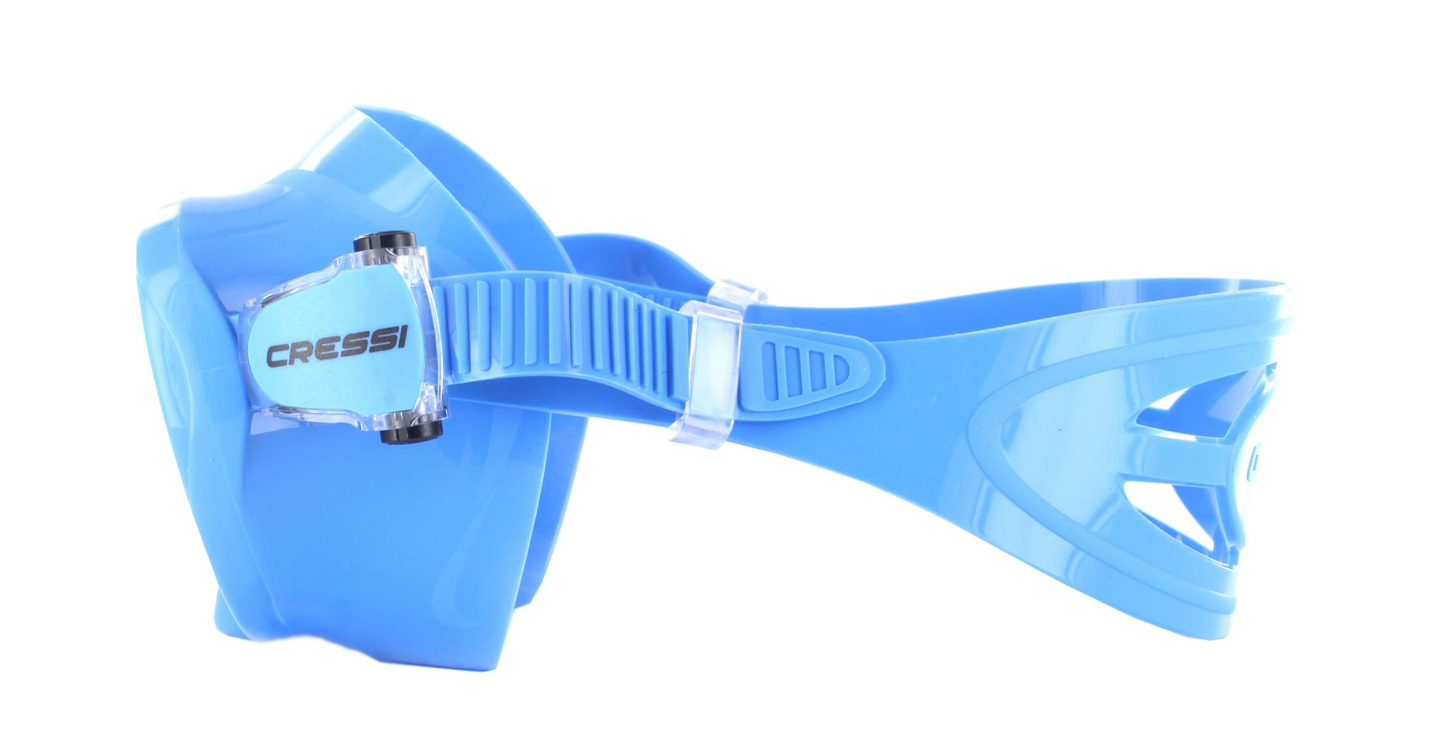 Cressi F1 Small Blue Silicon - Blue Seitliche Ansicht