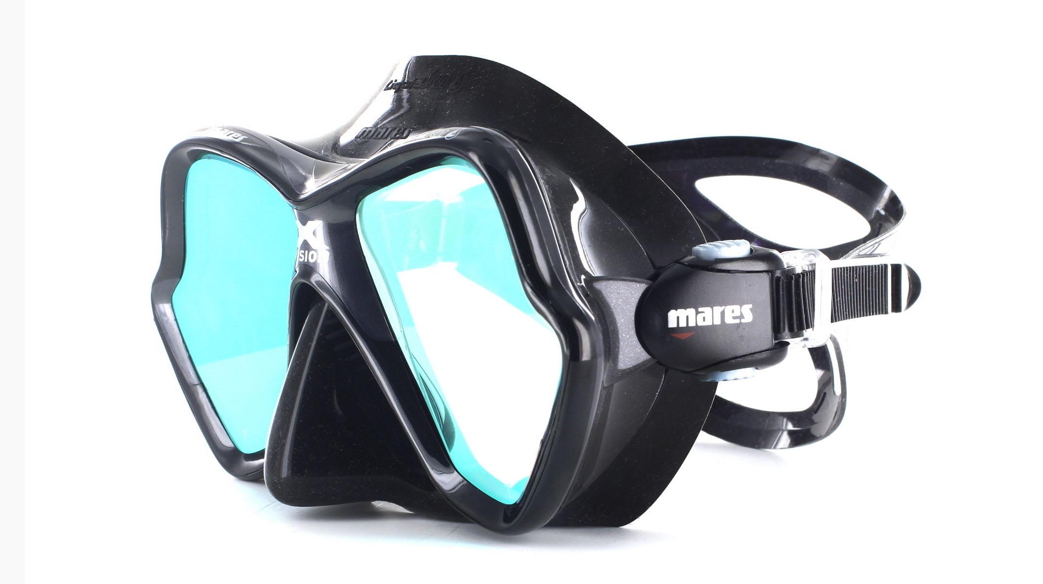 Mares X-Vision Ultra LS - Black/Gold Mirrored Schräge Ansicht